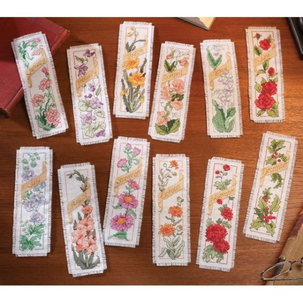 Bucilla Flowers Of The Month Bookmarks Counted Cross Stitch Kit