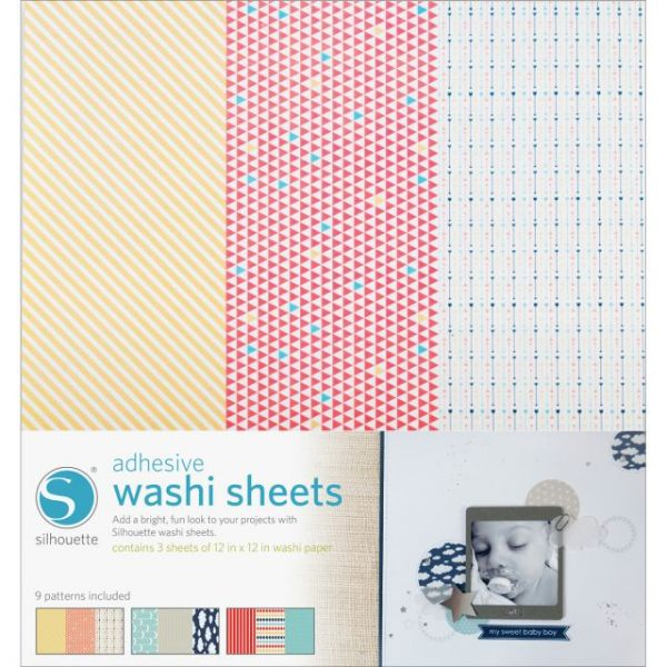"Silhouette Adhesive Back Washi Paper 12""X12"" 3/Pkg"
