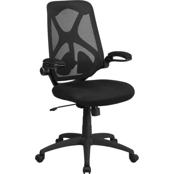 Flash Furniture High Back Mesh Executive Swivel Office Chair with Padded Seat, Adjustable Lumbar, 2-Paddle Control & Flip-Up Arms