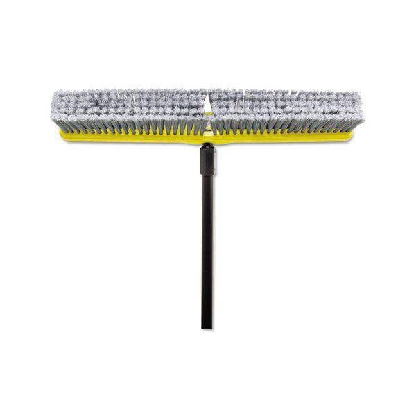 "Rubbermaid Commercial Fine Floor Sweeper, Polypropylene Fill, 24"" Brush, 3"" Bristles, Gray, 1 Dozen"