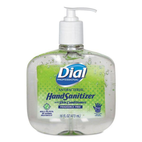 Dial Professional Antibacterial Gel Hand Sanitizer w/Moisturizers, 16oz Pump, Fragrance-Free, 8/Ct