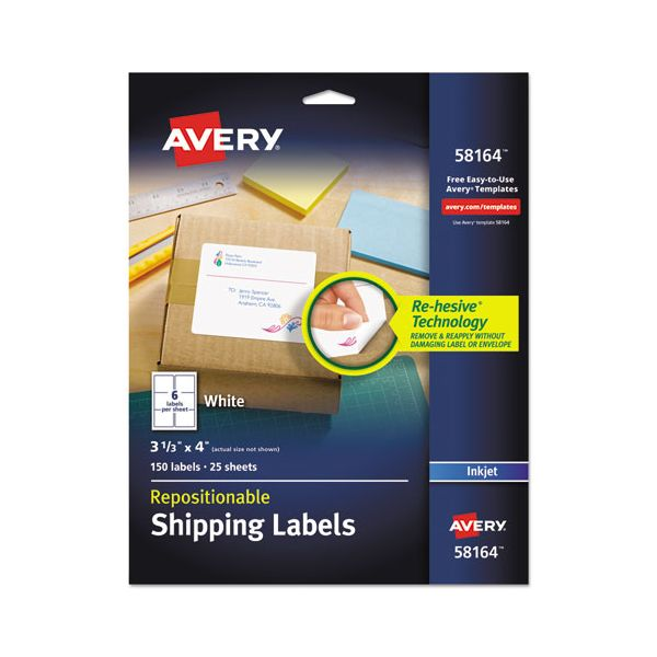 Avery Repositionable Shipping Labels, Inkjet/Laser, 3 1/3 x 4, White, 150/Box