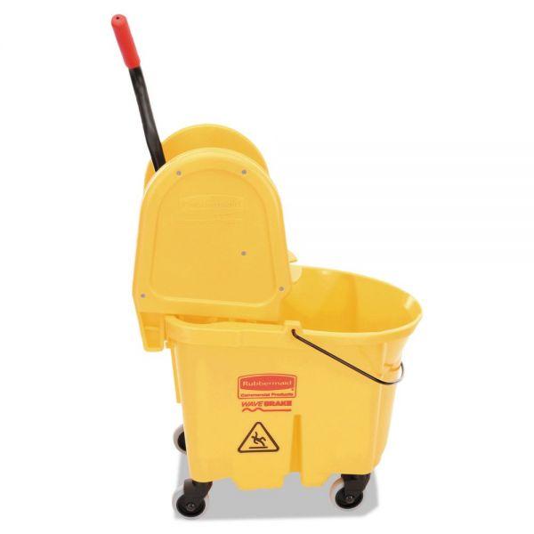 Rubbermaid Commercial Wavebrake 35 Quart Bucket/Wringer Combinations, Yellow