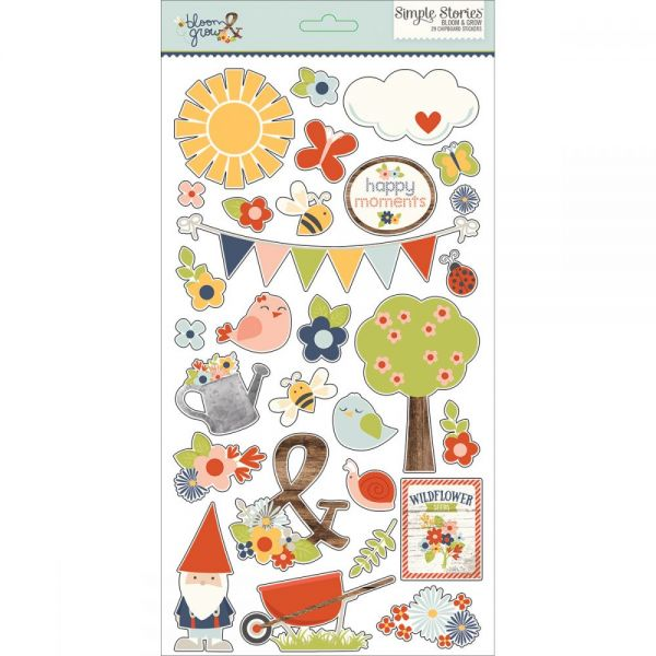 "Bloom & Grow Chipboard Stickers 6""X12"""