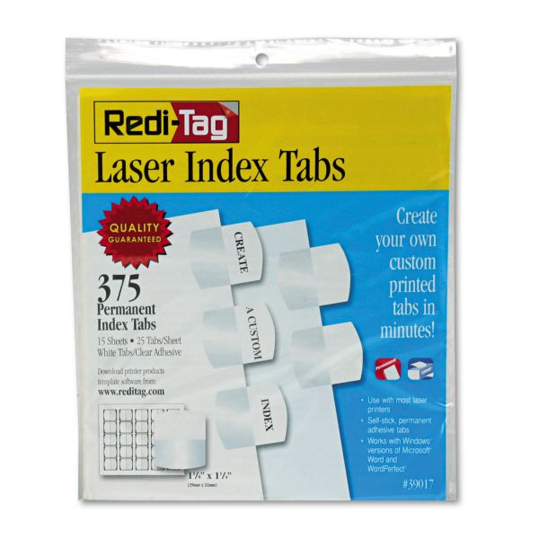 Redi-Tag Laser Printable Index Tabs, 1 1/8 x 1 1/4, White, 375/Pack