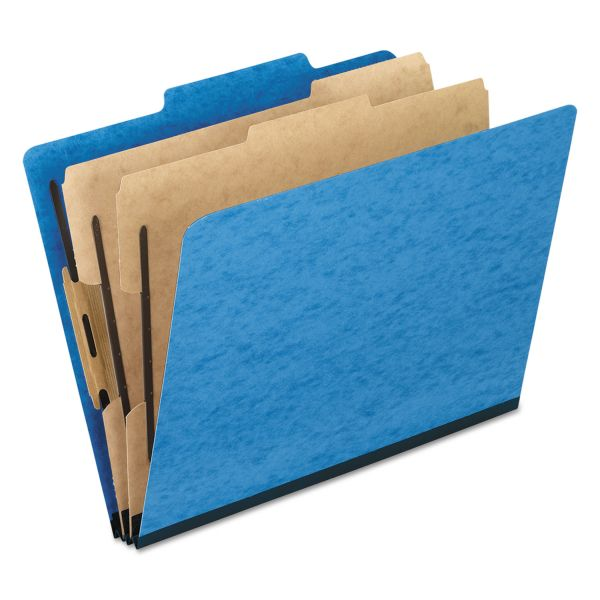 Pendaflex Six-Section Colored Classification Folders, Legal, 2/5 Tab, Light Blue, 10/Box