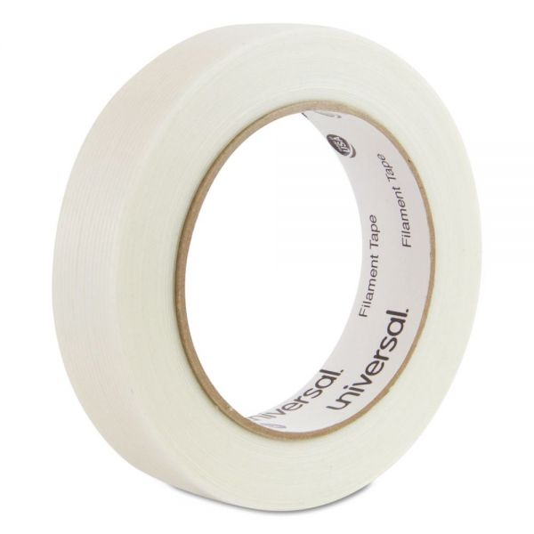 "Universal 165# Medium Grade Filament Tape, 24mm x 54.8m, 3"" Core, Clear"