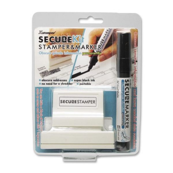 Xstamper Secure Stamp S18 with Marker, 15/16 x 2 13/16, Black