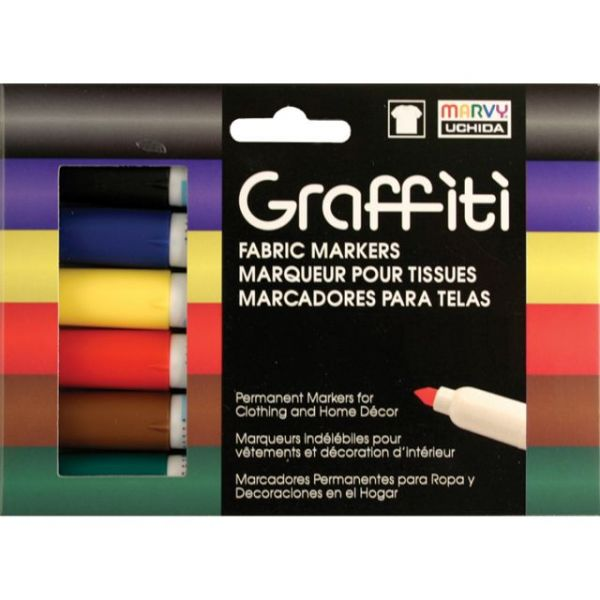 Graffiti Fabric Markers 6/Pkg