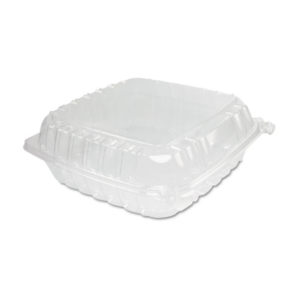 Dart ClearSeal Plastic Hinged Container, Large, 9x9-1/2x3, Clear, 100/Bag