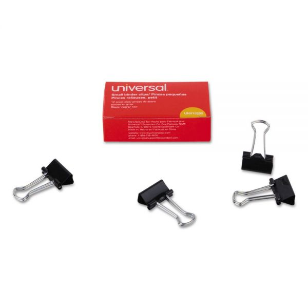 "Universal Small Binder Clips, 3/8"" Capacity, 3/4"" Wide, Black, 12/Box"
