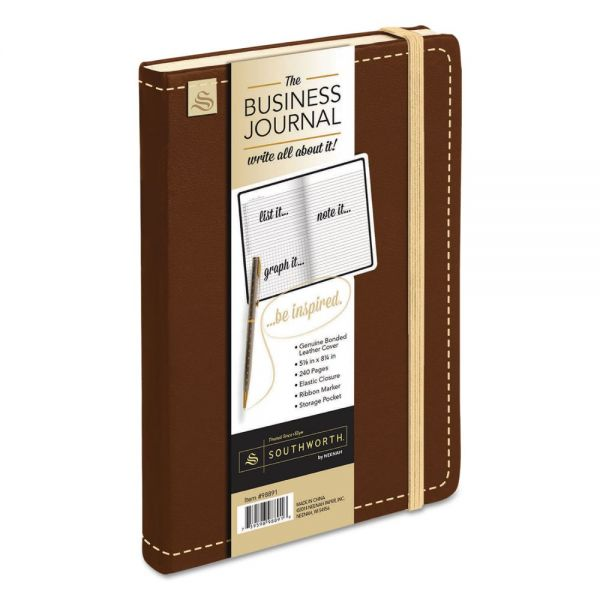 Southworth Business Journal, Ruled, 8 1/4 x 5 1/8, Dark Brown Cover, 240 Sheets