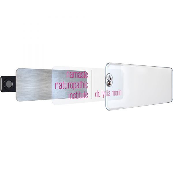 The Mighty Badge Name Badge Kit, Inkjet Inserts, 1 x 3, White/Silver, 10 Kits