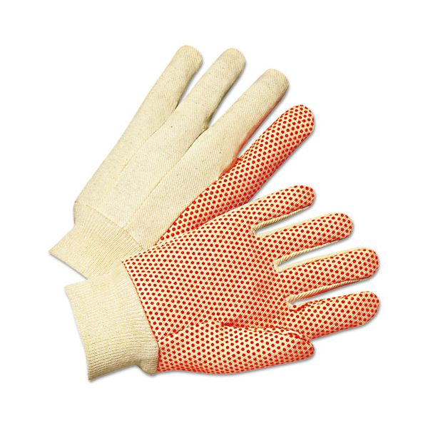 Anchor Brand 1000 Series PVC Dotted Canvas Gloves, Orange/Black, Large, 12 Pairs