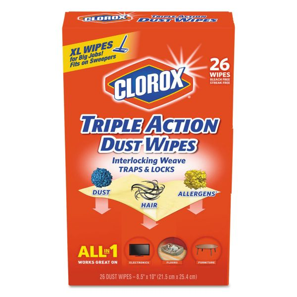 Clorox Extra Large Triple Action Dust Wipes