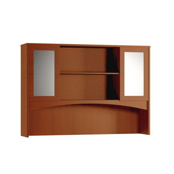 Mayline Brighton Series Double-Height Glass Door Hutch, 72w x 15d x 50-1/2h, Cherry