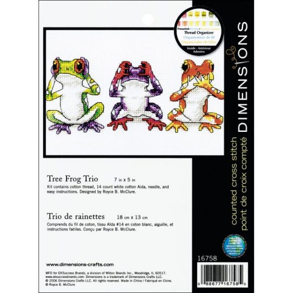 Dimensions Jiffy Treefrog Trio Counted Cross Stitch Kit