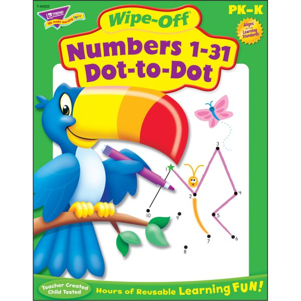 Trend Numbers 1-31 Dot to Dot Wipe-off Book Learning Printed Book