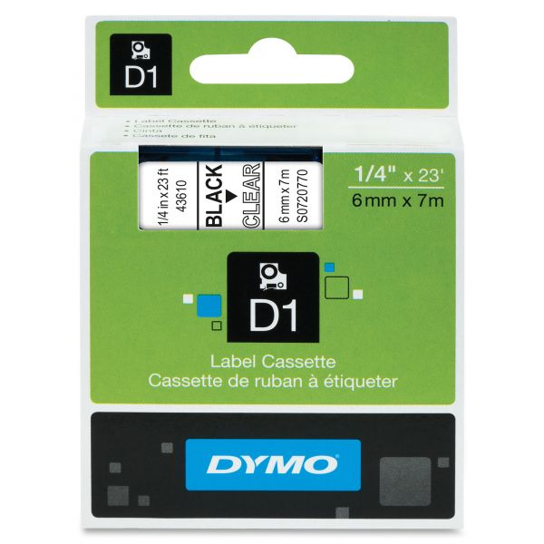 """DYMO D1 High-Performance Polyester Removable Label Tape, 1/4"""" x 23 ft, Black on Clear"""