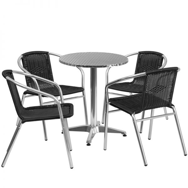 Flash Furniture 23.5'' Round Aluminum Indoor-Outdoor Table with 4 Black Rattan Chairs