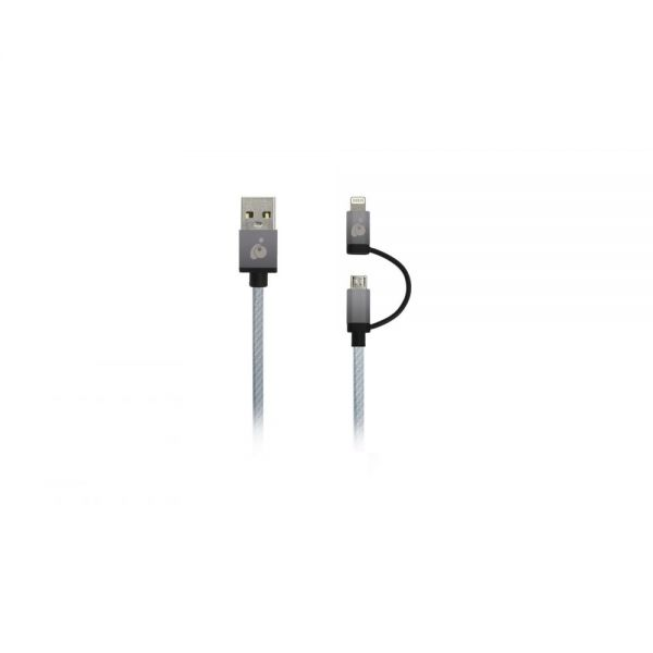 Iogear DuoLinq 2-in-1 Charge & Sync Cable - Space Gray