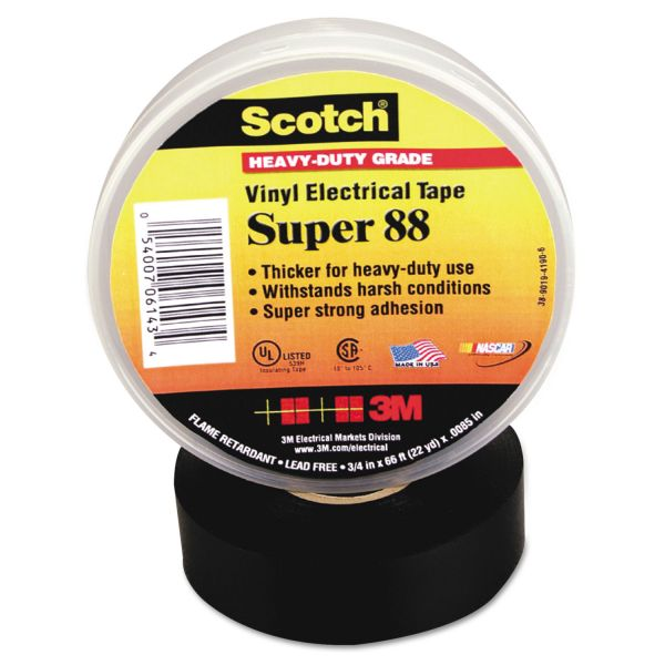 "3M Scotch 88 Super Vinyl Electrical Tape, 1 1/2"" x 44ft"