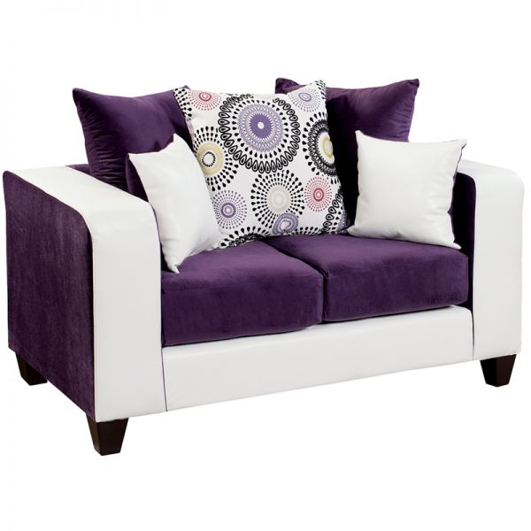 Flash Furniture Riverstone Implosion Purple Velvet Loveseat