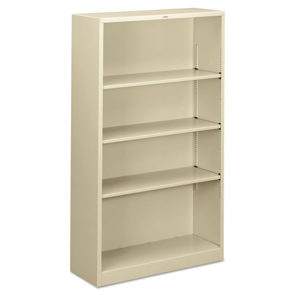 HON Metal Bookcase, Four-Shelf, 34-1/2w x 12-5/8d x 59h, Putty
