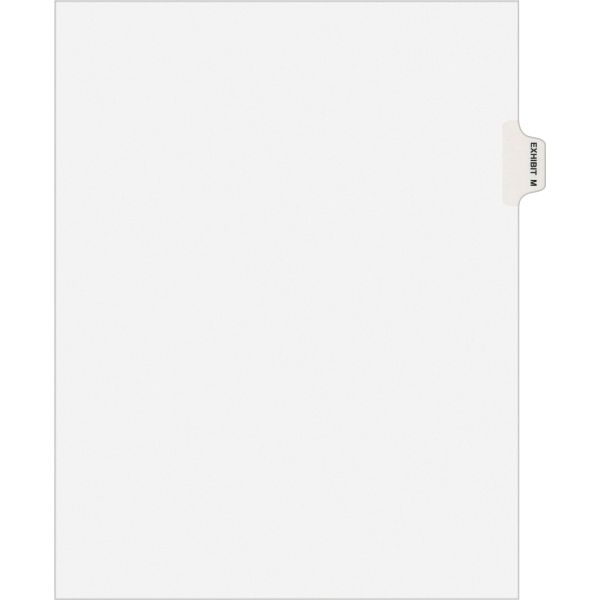 Avery-Style Preprinted Legal Side Tab Divider, Exhibit M, Letter, White, 25/Pack