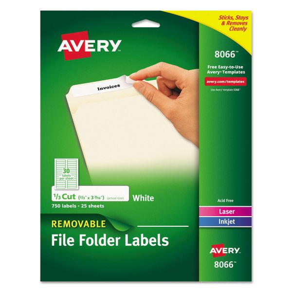 Avery Removable 1/3-Cut File Folder Labels, Inkjet/Laser, .66 x 3.44, White, 750/PK