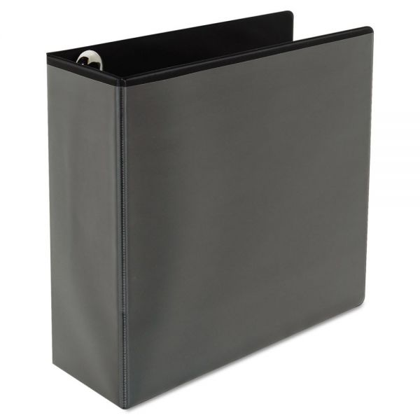 "Universal Deluxe Easy-to-Open 3-Ring View Binder, 4"" Capacity, D-Ring, Black"