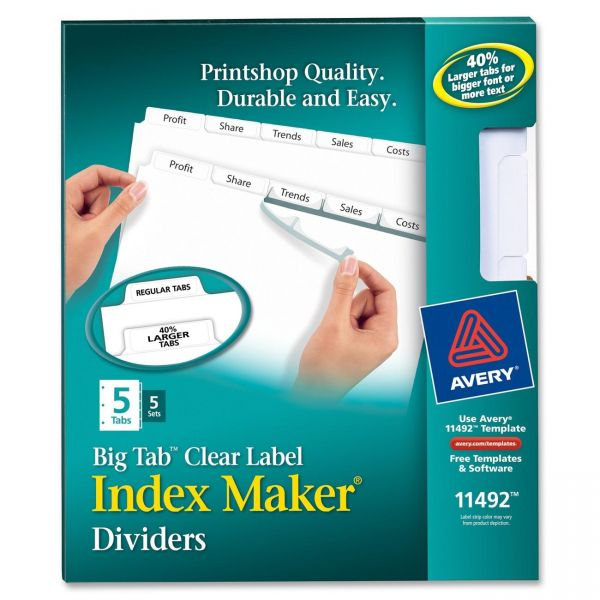 Avery Big Tab Clear Label 5-Tab Index Maker Dividers
