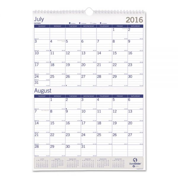 Blueline DuraGlobe Monthly Academic Wall Calendar