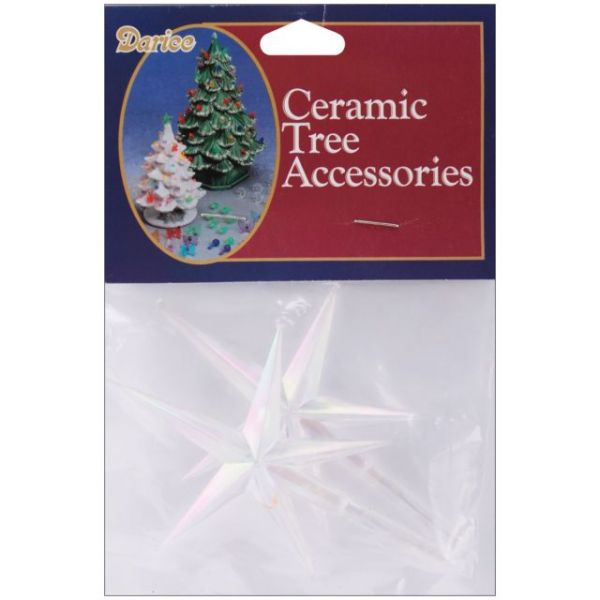 "Ceramic Christmas Tree Stars 3.875""X2.625"" 2/Pkg"