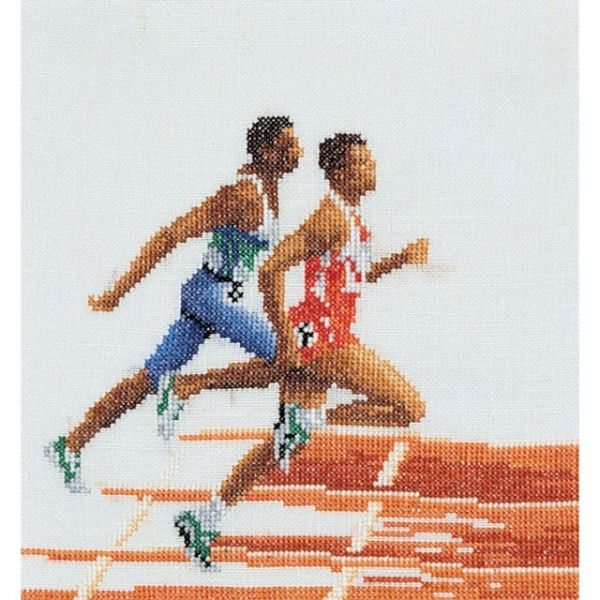 Athlete (Runners) On Linen Counted Cross Stitch Kit