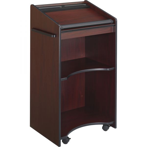 Safco Executive Mobile Lectern With Pull-Out Shelf, 25 1/4w x 19-3/4d x 46h, Mahogany