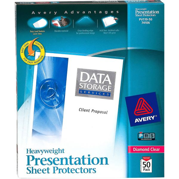 Avery Top-Load Poly Sheet Protectors, Letter, Heavy Gauge, Diamond Clear, 50/Box