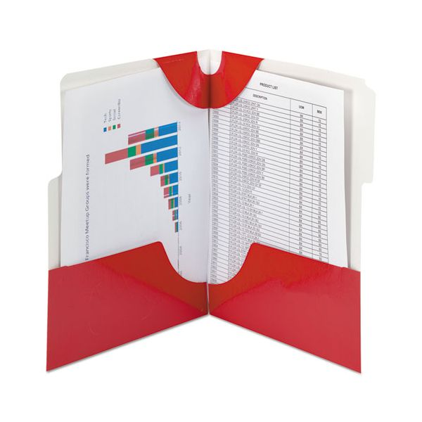 Smead SuperTab Two-Pocket Folder, 11 x 8 1/2, Red, 5/Pack