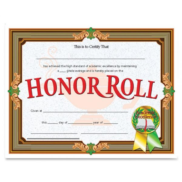 Flipside Honor Roll Certificates