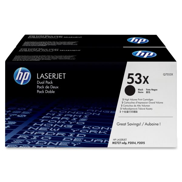 HP 53X Black High Yield Toner Cartridges (Q7553XD)