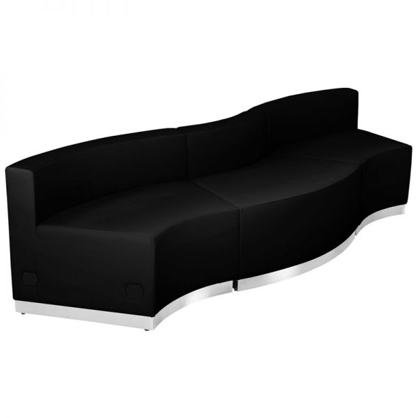 Flash Furniture HERCULES Alon Series Black Leather Reception Configuration, 3 Pieces