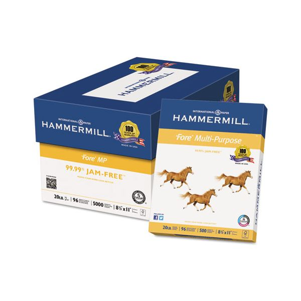 Hammermill Fore MP Multipurpose Paper, 96 Brightness, 20lb, 8-1/2x11, White, 5000/Carton
