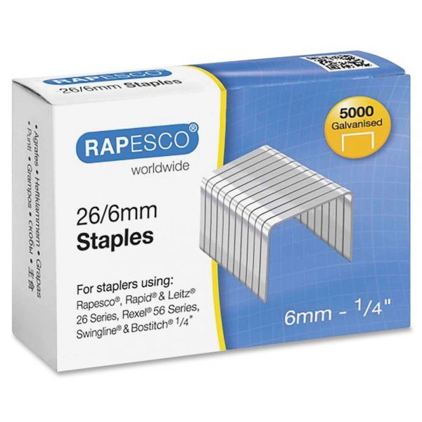 Rapesco 26/6mm Galvanized Staples