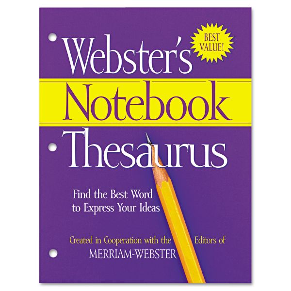 Merriam Webster Notebook Thesaurus, Three-Hole Punched, Paperback, 80 Pages