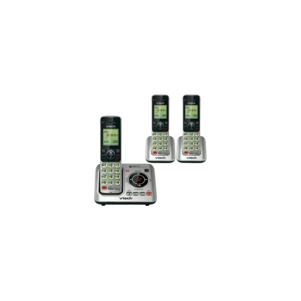 VTech CS6629-3 DECT 6.0 Expandable Cordless Phone with Answering System and Caller ID/Call Waiting, Silver with 3 Handsets