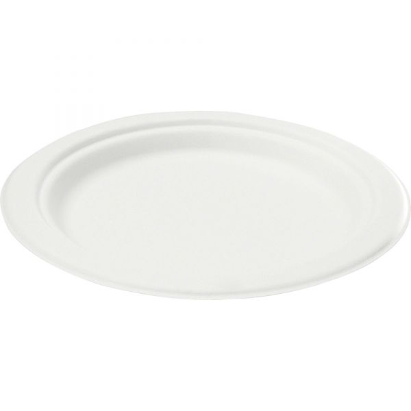 NatureHouse Compostable Sugarcane Bagasse 6 in Plate, Round, White, 50/Pack
