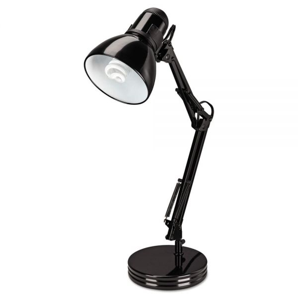 "Alera Architect Desk Lamp, Adjustable Arm, 22"" High, Black"