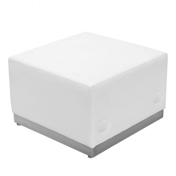 Flash Furniture Alon Series White Leather Ottoman [ZB-803-OTTOMAN-WH-GG]