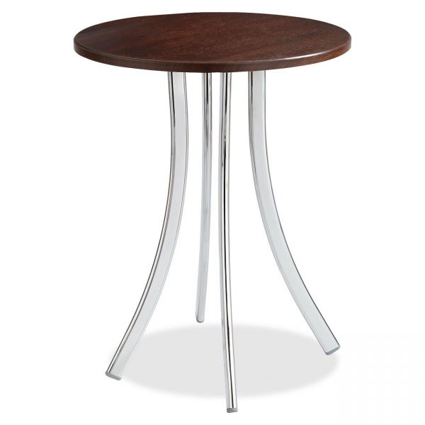 "Safco Decori Wood Side Table, Round, 25-3/4"" Dia., 25-3/4"" High, Mahogany/Silver"