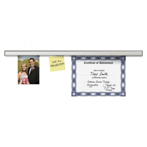 "Advantus Grip-A-Strip Display Rail, 12"" Long, 1 1/2"" High, Satin Aluminum Finish"